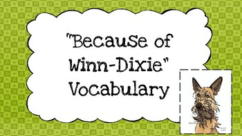 Because of Winn Dixie Vocabulary
