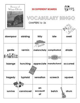 Because of Winn Dixie Vocabulary Bingo