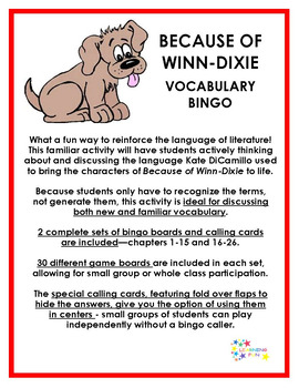 Because of Winn Dixie Vocabulary Bingo
