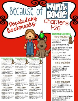 Because of Winn-Dixie: Vocabulary Bookmarks (chapters 1-26)