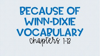 Because of Winn Dixie Vocabulary Ch 1-13