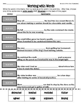 Because of Winn-Dixie - Vocabulary Matching