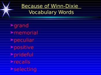 Because of Winn-Dixie Vocabulary Power Point
