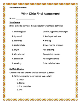 Because of Winn-Dixie Vocabulary and Final Assessment