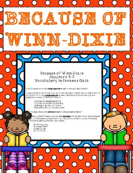 Because of Winn-Dixie Vocabulary in Context Chapters 3-5