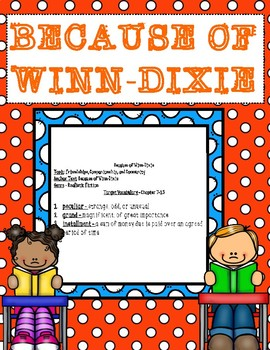 Because of Winn-Dixie Vocabulary in Context Chapters 7-15