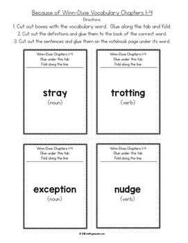 Because of Winn-Dixie (Winn Dixie):  Interactive Notebook Vocabulary Activities