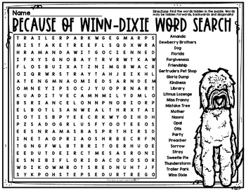 Because of Winn Dixie Word Search