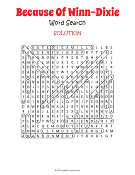 Because of Winn-Dixie Word Search Puzzle