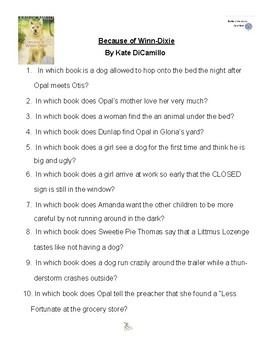 Because of Winn-Dixie by Kate DiCamillo, Battle of the Books Questions