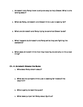 Percy Jackson Battle of the Labyrinth comprehension