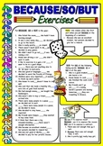 Linking Words -BECAUSE/ SO/ BUT for EFL and ESL students