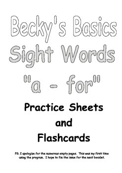 Becky's Basics Sight Words Practice Sheets and Flashcards