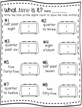 Telling Time to 5 Minutes: Centers and No Prep printables