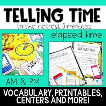 Telling Time to the Nearest 5 Minutes: Centers and No Prep