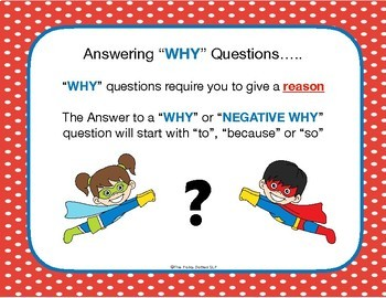 """Speech Therapy Activity: Question Comprehension for """"Why"""" and """"Negative Why"""""""