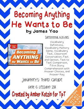 Becoming Anything He Wants to Be Activities 3rd Grade Journeys Unit 6, Lesson 28