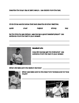 Becoming Babe Ruth comprehension packet