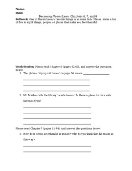 Becoming Naomi Leon: Chapters 6, 7, 8: Active Reading and Vocabulary Worksheet