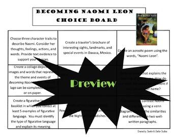 Becoming Naomi Leon Choice Board Novel Study Activities Menu Book Project