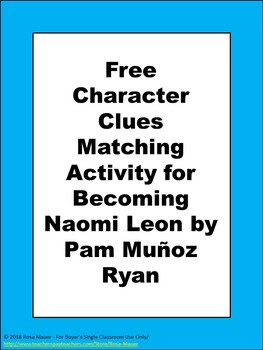 Becoming Naomi Leon FREE Book Extension Activity