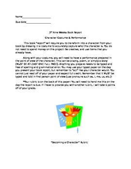 Becoming a Character Book Report and Rubric