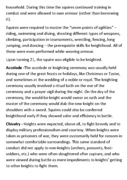 Becoming a Medieval Knight Handout