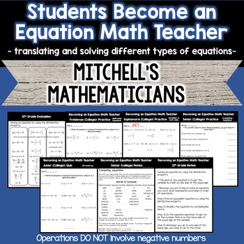 Students Become an Equation Math Teacher - Translating and