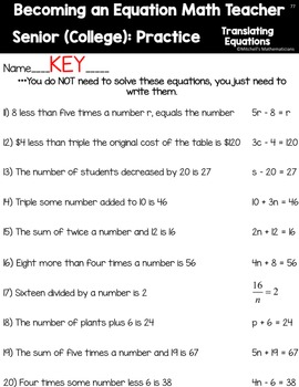 Students Become an Equation Math Teacher Translating and Solving Equations