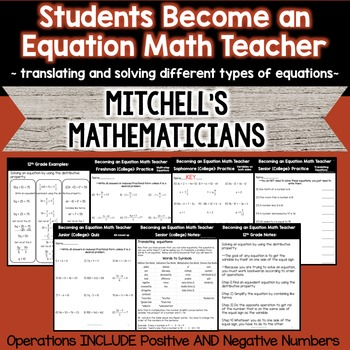 Students Become an Equation Math Teacher  - Translating and Solving Equations