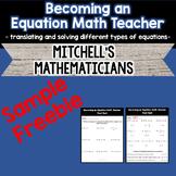 Becoming an Equation Math Teacher Post-Test Freebie