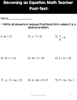 Becoming an Equation Math Teacher Post-Test Freebie