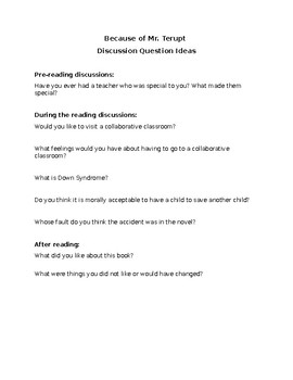 Becuase of Mr. Terupt Discussion Questions