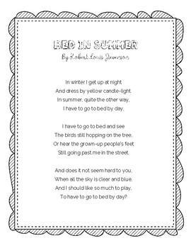 Bed In Summer Poem By Robert Louis Stevenson By Teach
