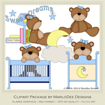 Beddy Bye Bear Blue Clip Art Graphics by MarloDee Designs