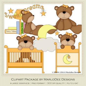 Beddy Bye Bear Orange Clip Art Graphics by MarloDee Designs