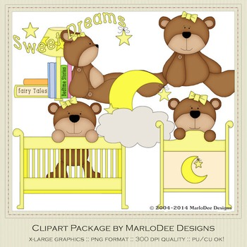 Beddy Bye Bear Yellow Clip Art Graphics by MarloDee Designs