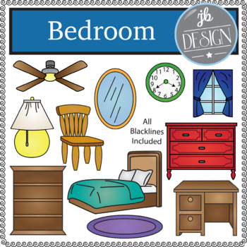 Bedroom (JB Design Clip Art for Personal or Commercial Use)