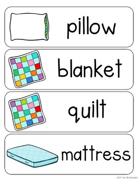 Bedroom Vocabulary Word Wall Cards plus Write & Wipe Version