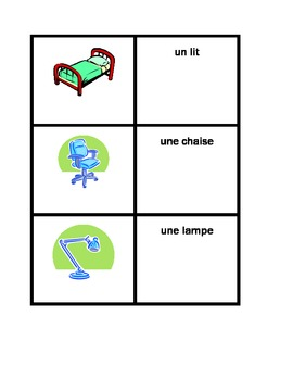 Bedroom & common objects in French Concentration Games