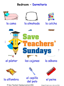 Bedroom in Spanish Worksheets, Games, Activities and Flash Cards