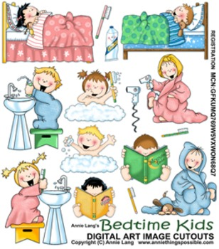 Bedtime Kids Character Clipart