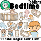 Bedtime Routines Toddler Boy and Girl ClipArt