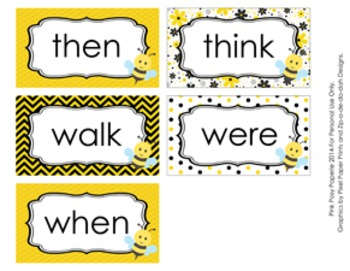 Bee 1st Grade Dolch Sight Wall Words