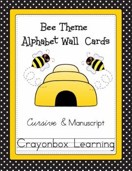 Bee Alphabet Wall Cards - Cursive & Manuscript - Classroom Decor