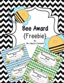 Bee Award {Freebie} General Awards Spelling Awards Classroom Awards Paper Awards