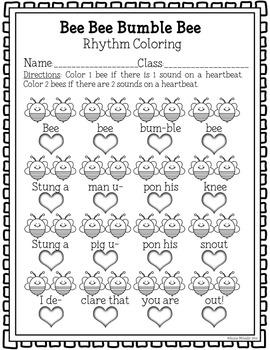 Bee Bee Bumble Bee Coloring/Dictation Page (ta & ti-ti prep & practice)