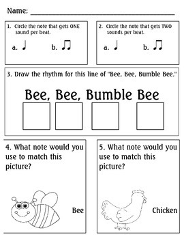 Bee, Bee, Bumblebee Worksheet