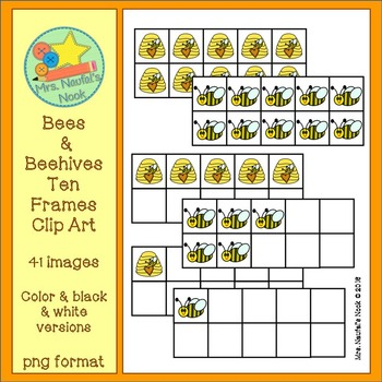 Bees and Beehives Ten Frames Clip Art