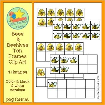 Bees & Beehives Ten Frames Clip Art
